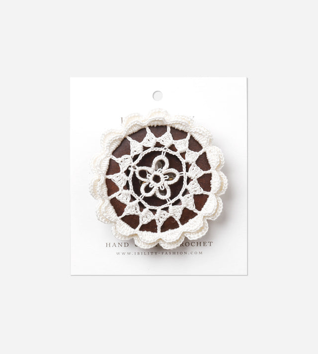 Gerberas, Wooden Button Brooch with Crochet