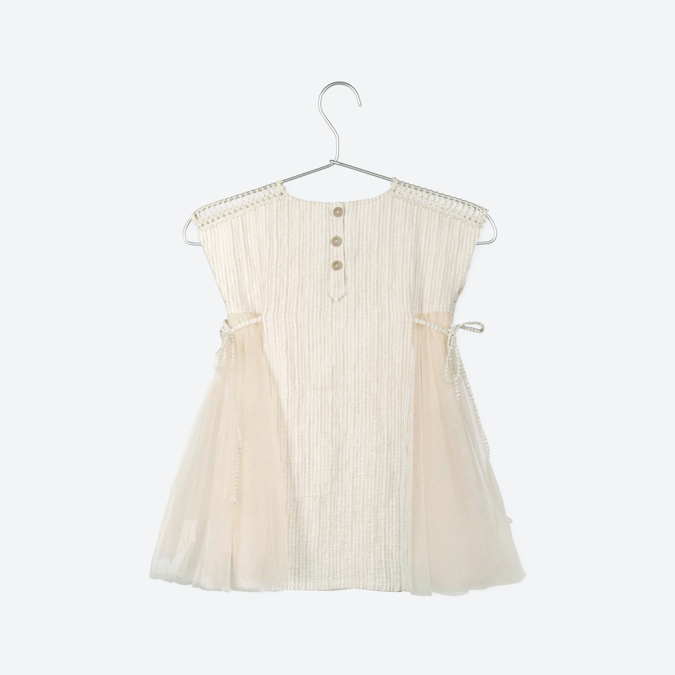 Stripe Linen & Cotton Dress With Crochet