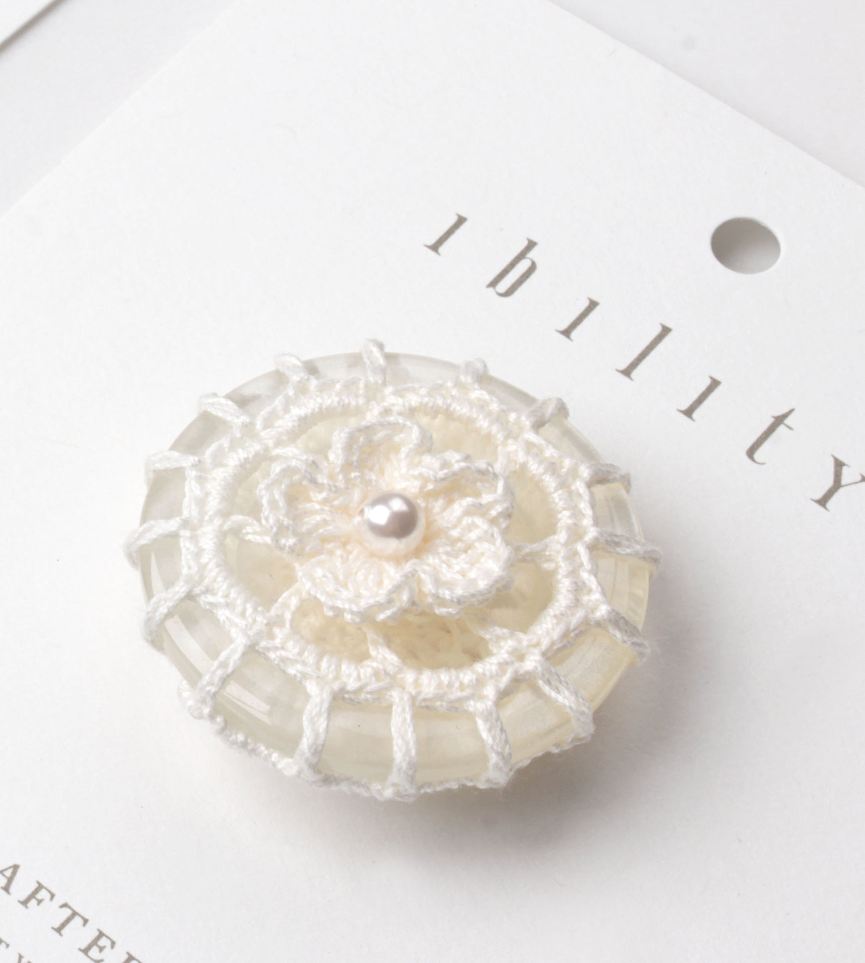 Blossom Crochet Button Brooch with Pearl