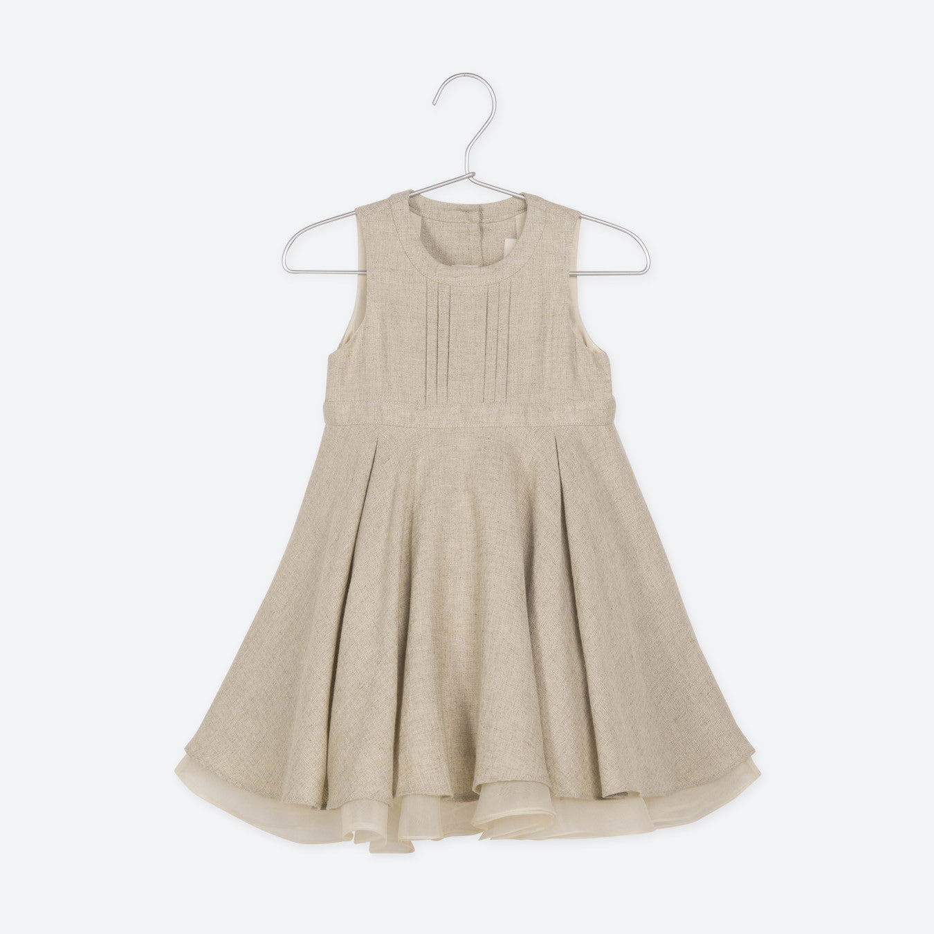 Crochet Trimmed Sleeveless Linen & Cotton Dress