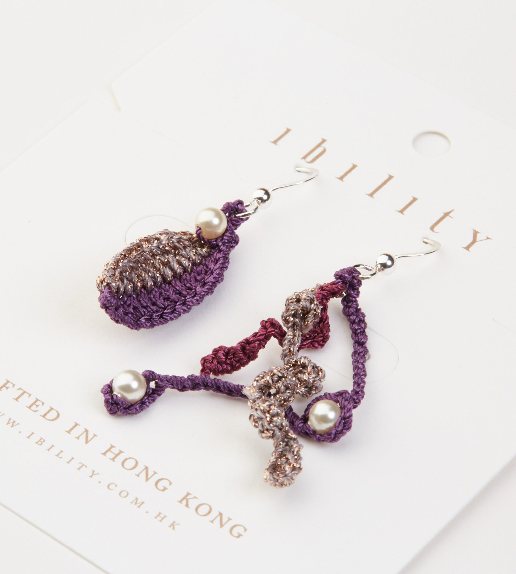 The Golden Fall, Crochet Leaf Earrings with Pearls (Grapes)