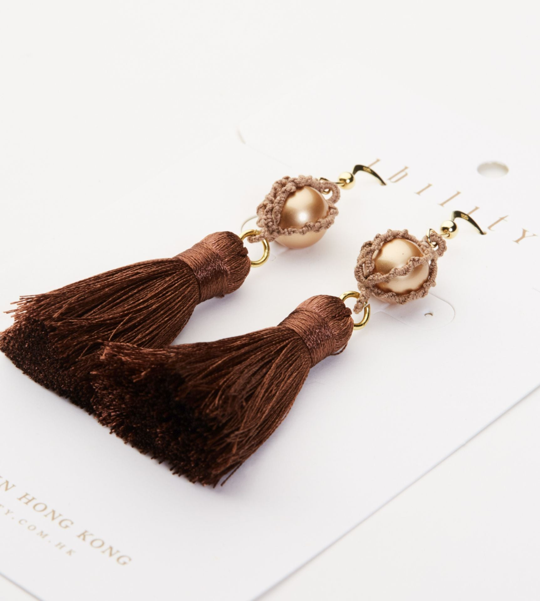 Pearl Tassel Statement Earrings