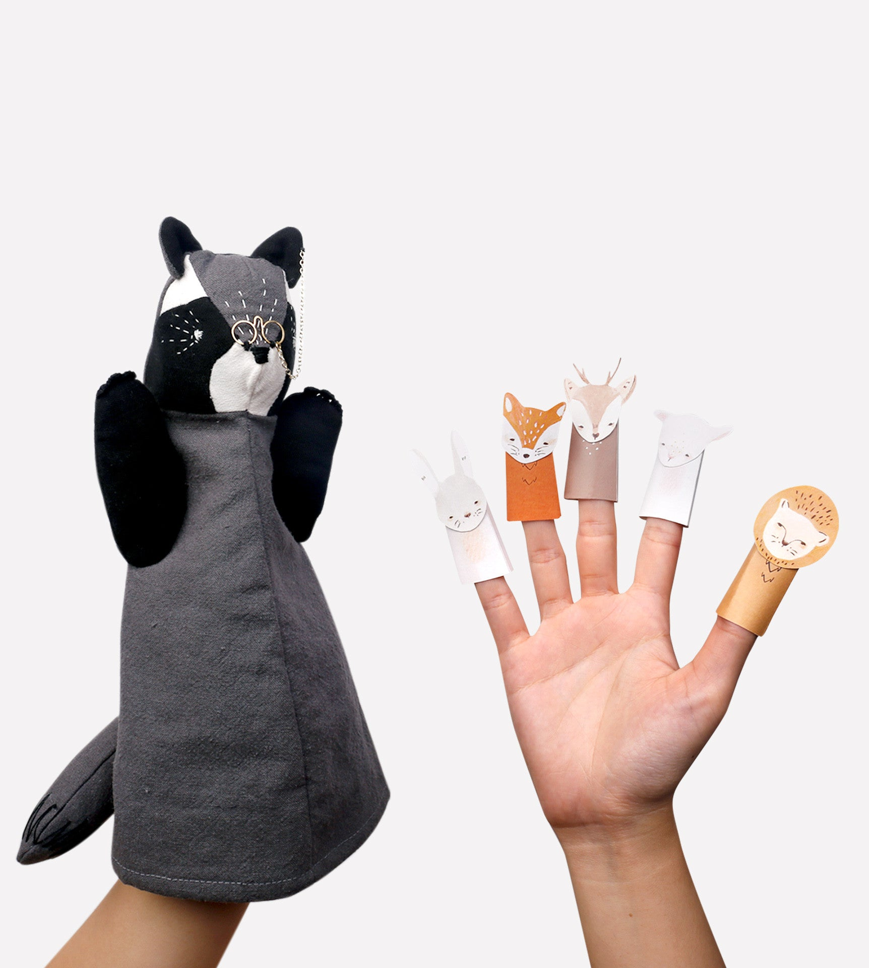 Dr. Jones Raccoon Puppet and Finger Puppets