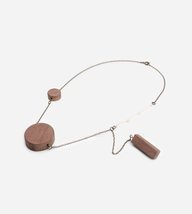 Wooden Pendant Necklace with Brooch