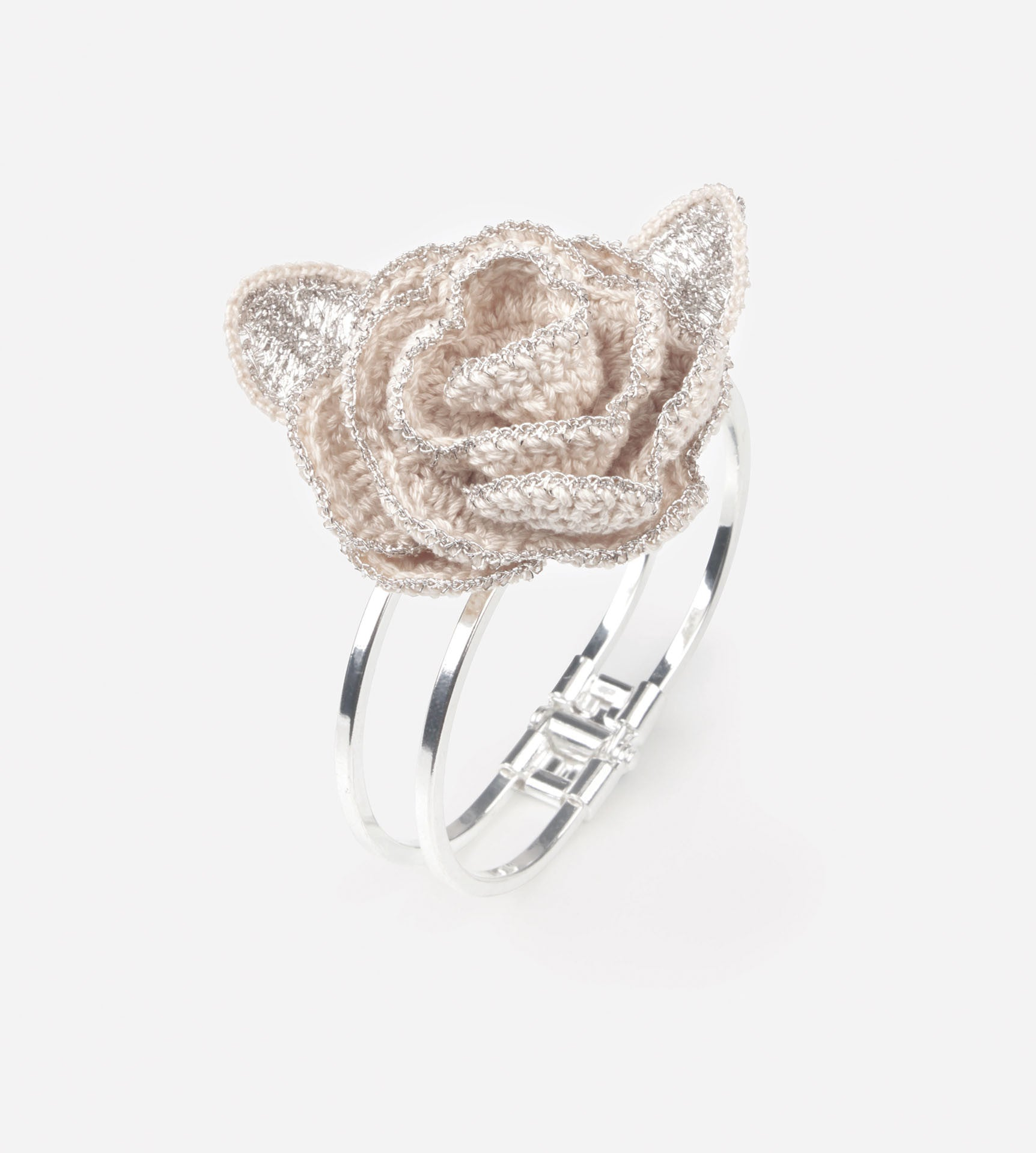 Premium Rosedew Silver Crochet Bangle
