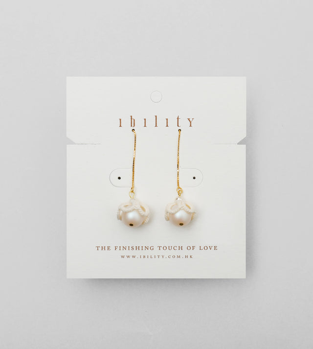 Cloud Pearl Tatted Drop Earrings