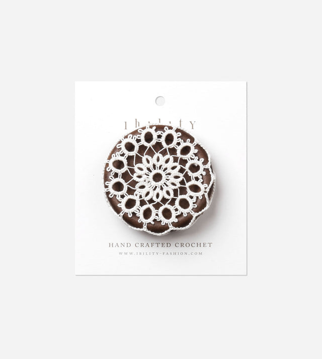 Dandelion, Wooden Button Brooch with Crochet