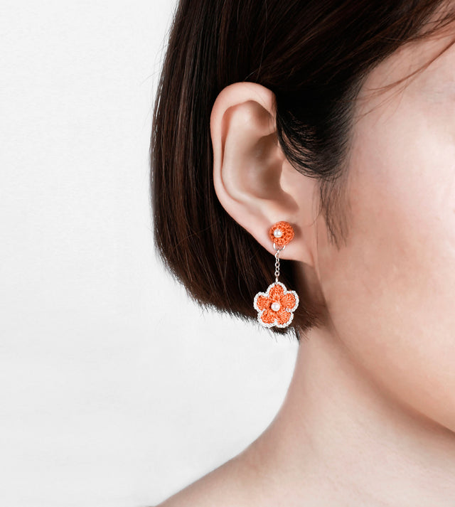Autumn Story, Crochet Bud & Flower Drop Earrings
