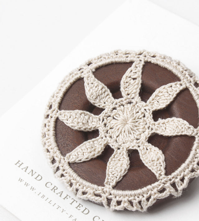 Adore, Wooden Button with Crochet