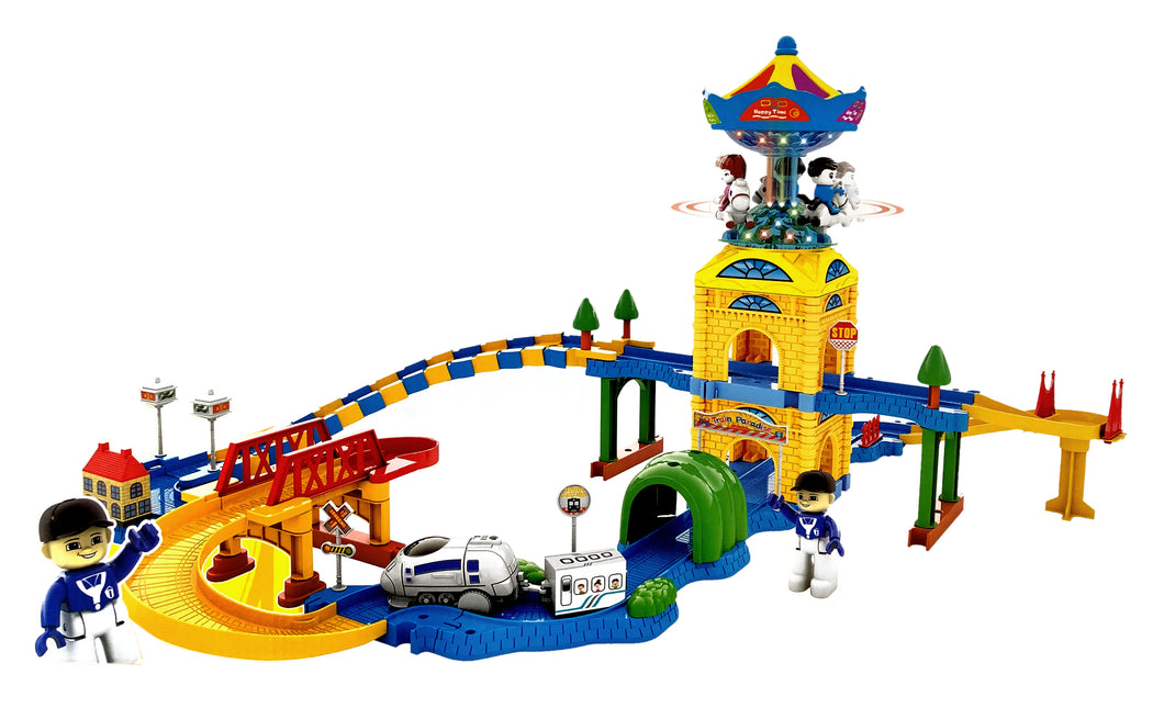 Toyshine Funny Carousel Castle Train Tracker Set Battery Operated Train Track, with Lights and Music