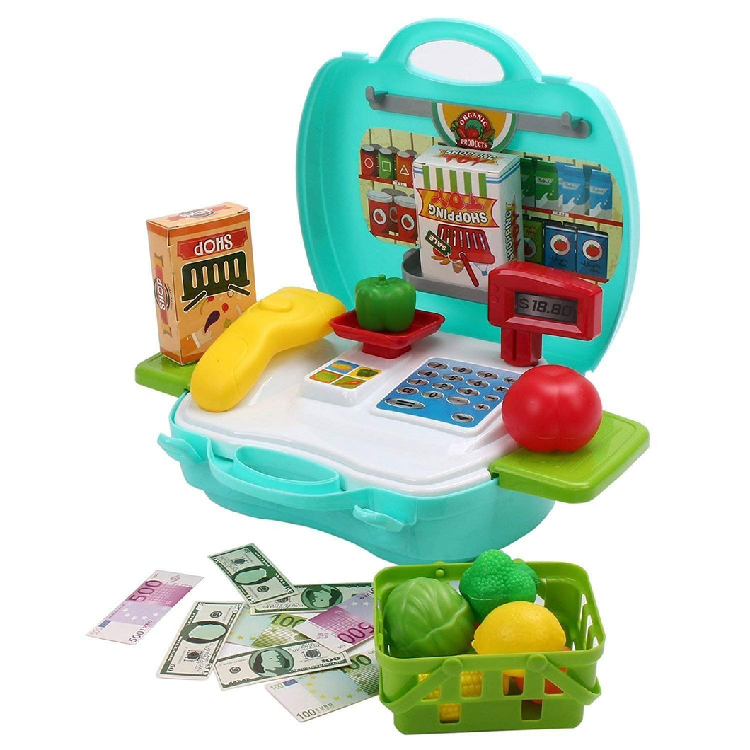 Toyshine Mini Market Pretend Play Cash Register with Pretended Vegetable, 24-Pieces