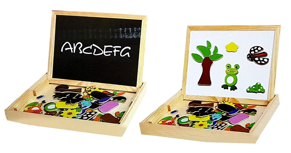 Toyshine Wooden Magnetic Board Easel, Jigsaw Puzzle, Drawing Board, Wooden Toy