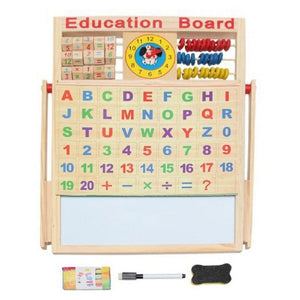 Toyshine® Educational Learning Board Multipurpose Double-Sided Magnetic Wooden Writing, Mathematical Calculations & English Alphabets,White and Black Board