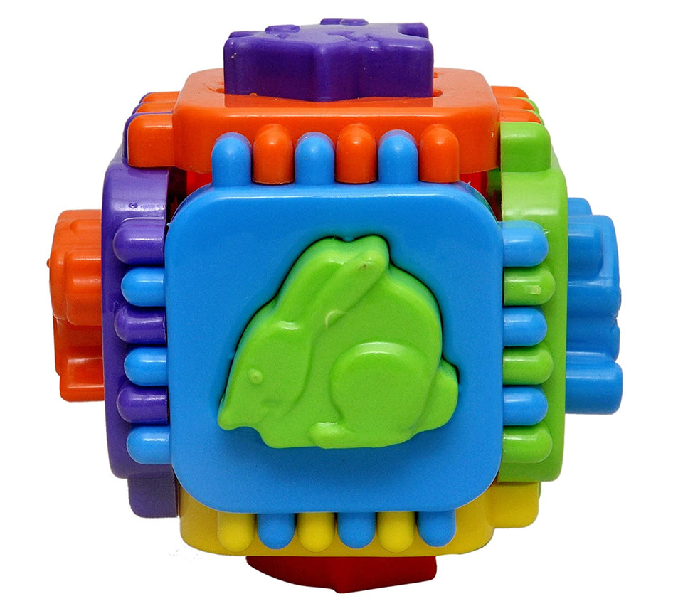 Toyshine Cube Shape Sorter Toy, Learn Colors, Puzzle and Animals