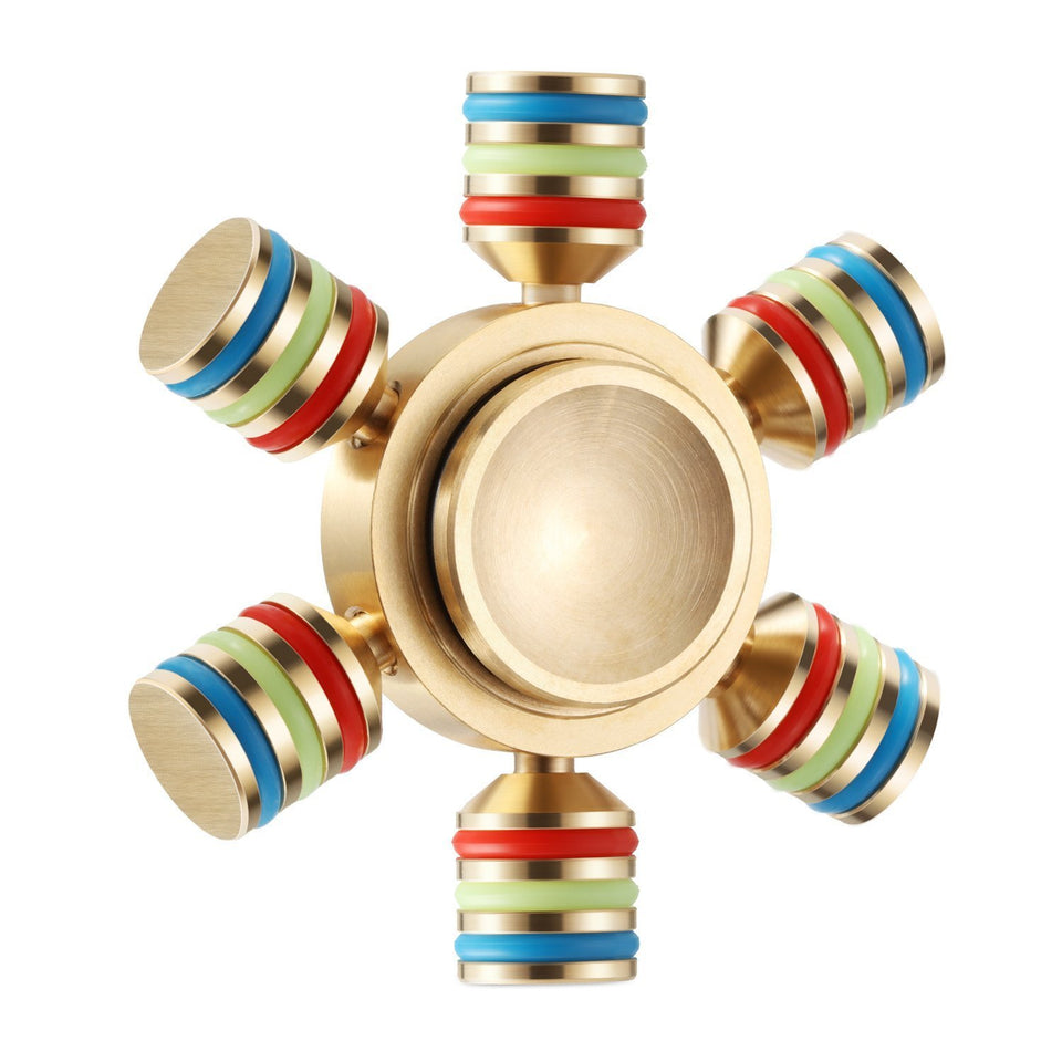 Toyshine Brass Rainbow Fidget Spinner with Long Lasting Smooth Spin, 6 Angle, Gold
