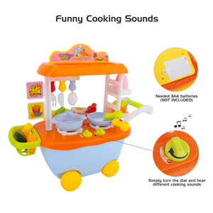 Toyshine Fast Food Truck Kitchen Pretend Play Set, [34 PCS] Children Supermarket Trolley Cart Toys Play Set with Cooking Sound, Kids Snacks Bus Play Set with Food and Dishes for Toddlers
