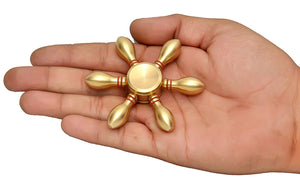 Toyshine Fidget Spinner with Long Lasting Smooth Spin, 6 Angle, Brass Golden