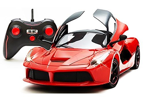 Toyshine Red Super Remote Control Car, Rechargeable, Opening Doors, Frustration Free Packaging
