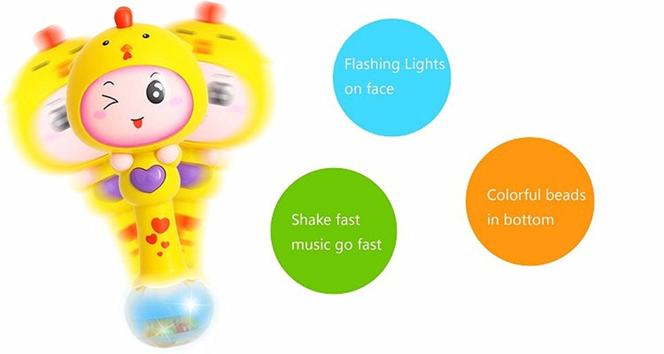 Toyshine Rhythm Stick Rattle with Colorful Soft Light, Rattling Sound, Assorted