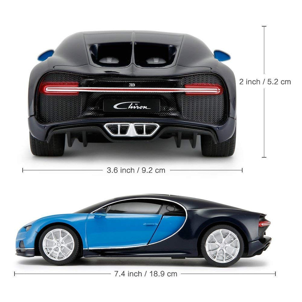 Rastar 1:24 Bugatti Chiron Remote Control Car, with Lights, Black, TOYSHINE - 48