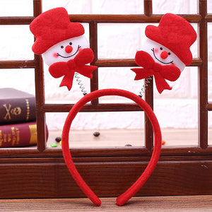 Toyshine Christmas Headband Santa Snowman Hair Hoop Holiday Party Decoration (Pack of 12)