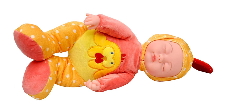 Toyshine Sleeping Baby 9 inches Soft Baby Toy Doll with Music Effect, Touch Sensors, Peach