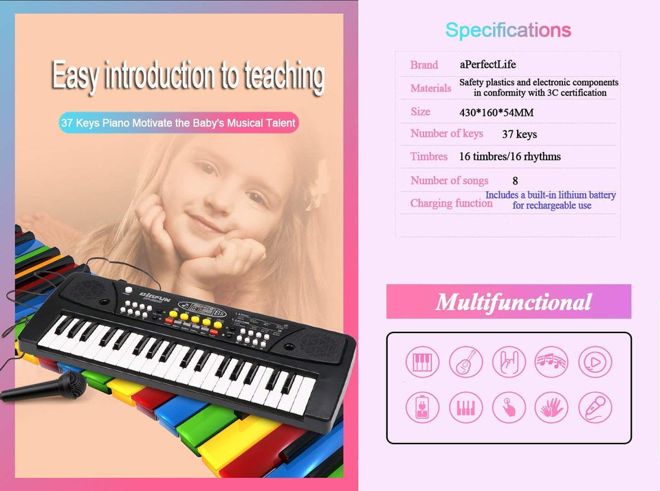 Toyshine Kids Piano Keyboard 37 Keys- Multi-Function Portable Piano Keyboard Electronic Organ with Charging Function