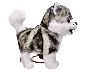 Toyshine Musical Soft Dog Toy with Moving Tail, Running Function, Grey White Husky Dog, Assorted Design