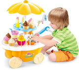 Toyshine Ice Cream Kitchen Play Cart Kitchen Set Toy with Lights and Music, Yellow