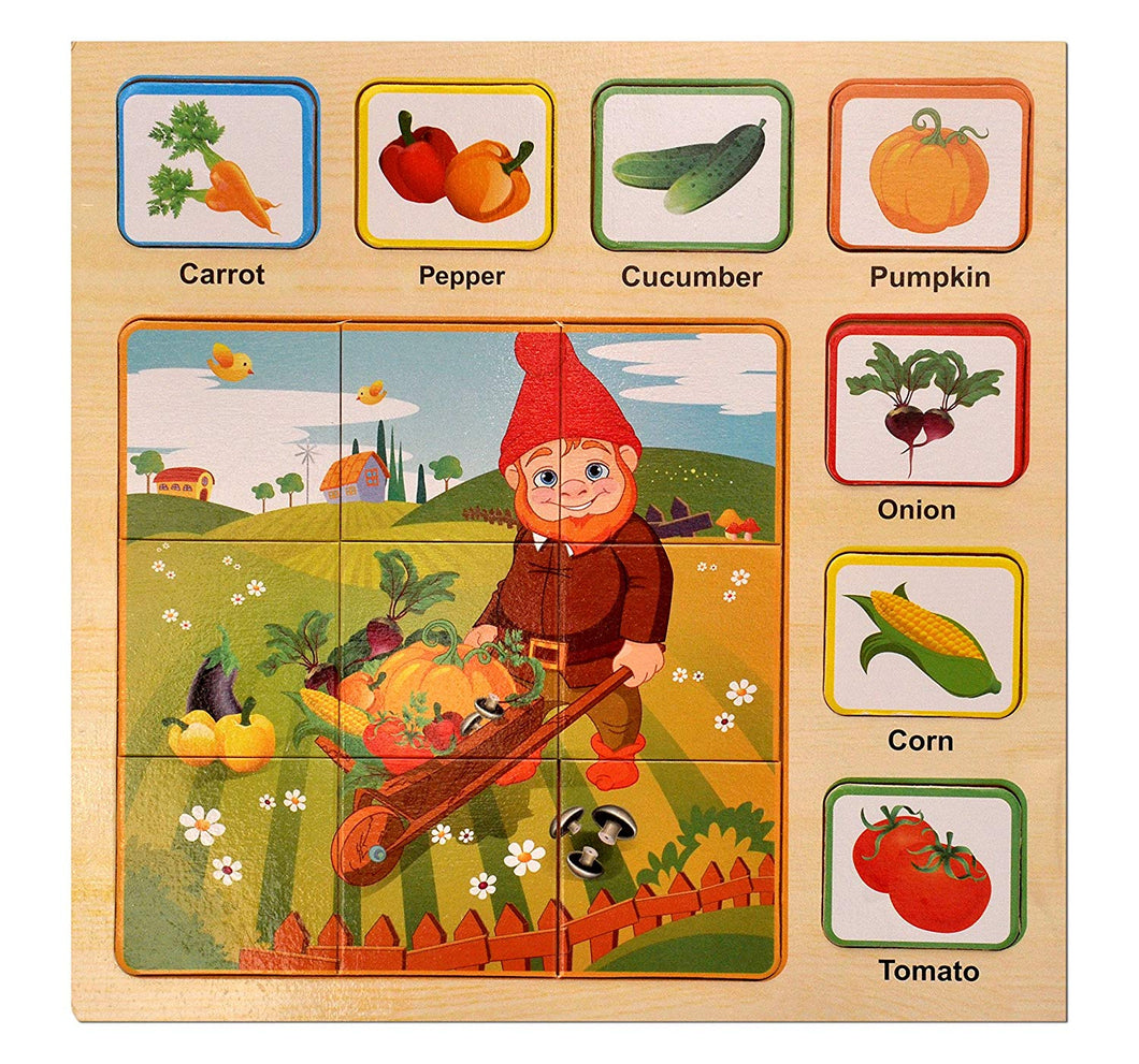 Toyshine Wooden Puzzle Toy, Educational and Learning Toy - Vegetables Puzzle by Toyshine