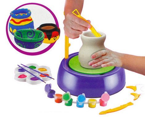 Imaginative Arts Pottery Wheel Game and Learn Educational Toy, Blue
