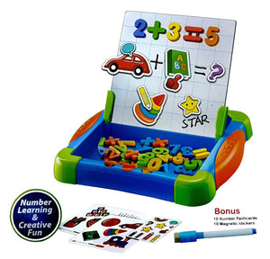 Toyshine Magnetic Fun Way to Learn Numbers and Drawing Board with Cue Cards (Multicolour)