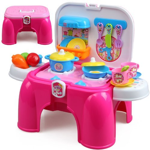 Toyshine Carry Along Kitchen Play Set with Sitting Stool and Music Effect (Pink)