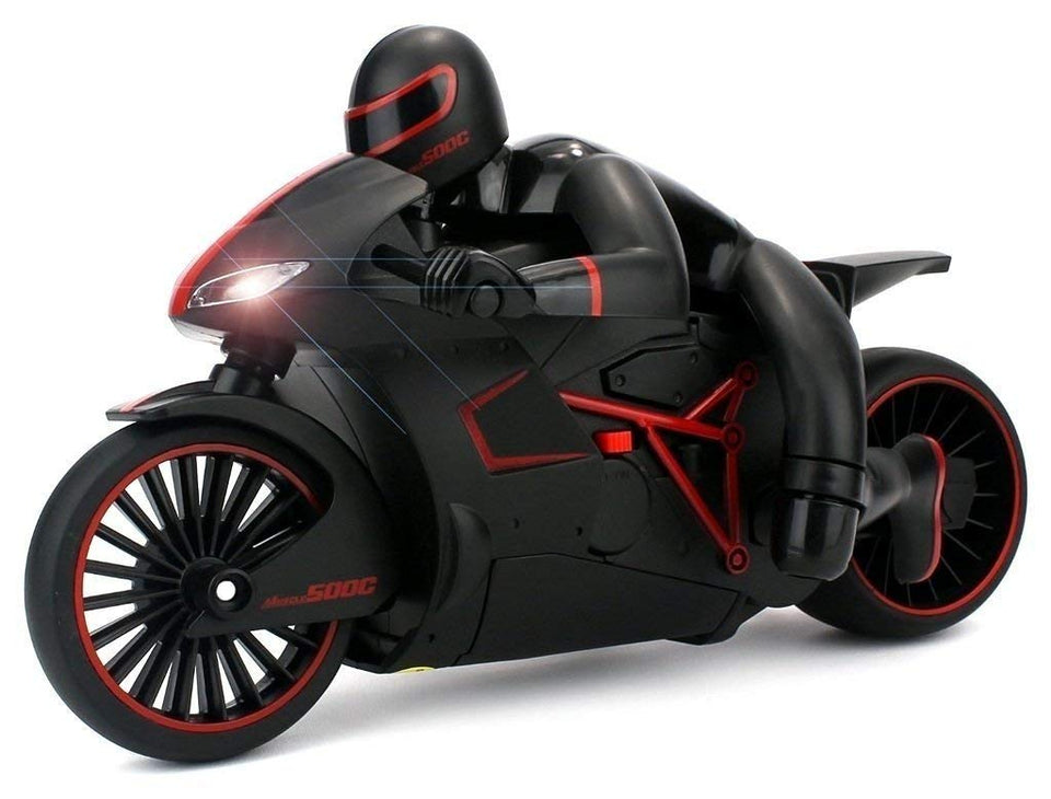 Toyshine Remote Control Motorcycle 2.4 GHz, Built in Gyroscope, LED Headlights (Black)