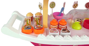 Toyshine Big Ice Cream Kitchen Play Cart Kitchen Set Toy with Lights and Music