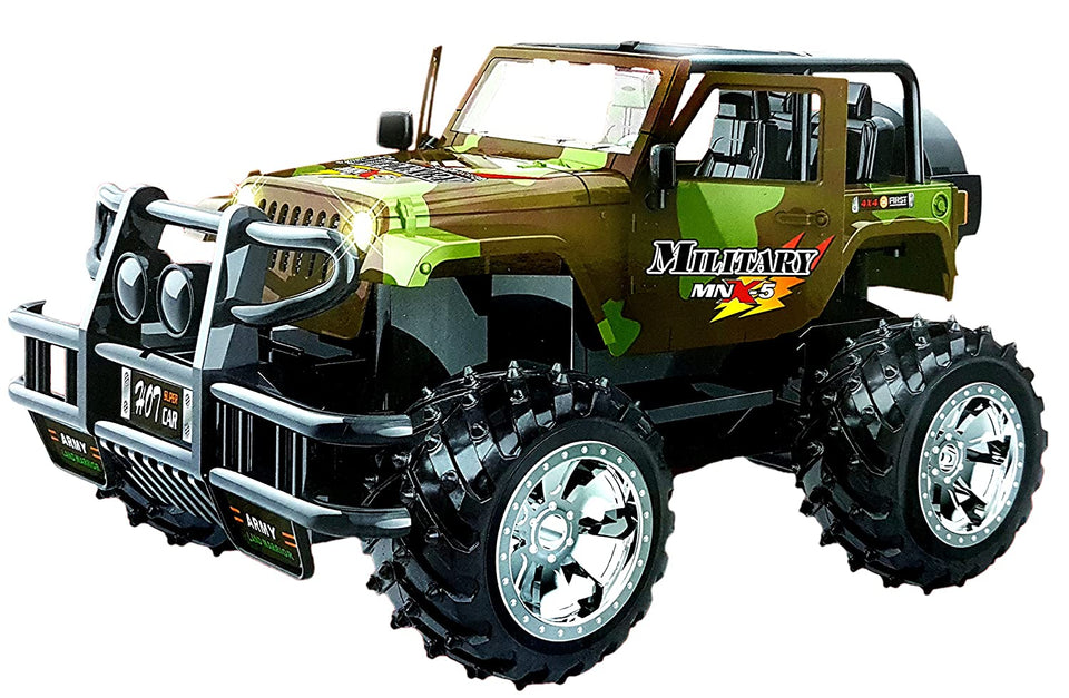 Sunshine Gifting Remote Control High Power Jeep Car Toy, Opening Doors, Rechargeable, Military Model