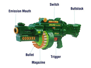 Toyshine Blaze Storm Soft Bullet Automatic Gun with 40 Darts, 49x23x12cm (Metal Green)