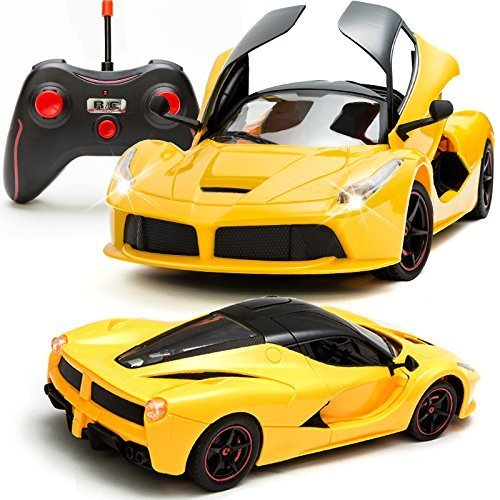 Toyshine Ferrari Remote Control Car, Rechargeable, Opening Doors, Frustration Free Packaging, Yellow
