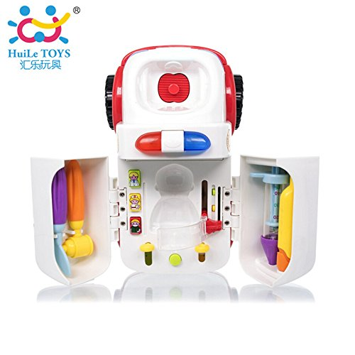 Toyshine Intellectual Ambulance Activity Plastic Toy Vehicle with Music, Sounds, and Lights (Multicolour)