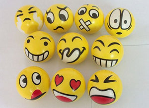 Toyshine 12 Pc Emoji Stress Relief Smiley Balls, Stress Buster, Soft Ball, Yellow, Pack of 12, Birthday Return Gifts
