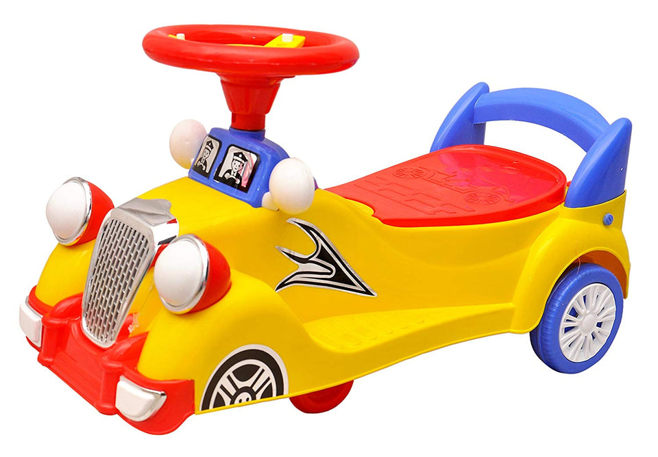 Toyshine Kid's Plastic Vintage Magic Car, Ride-on Toy (Yellow)
