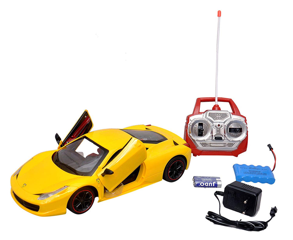Toyshine Ferrari 458 Remote Control Car, Opening Doors, Rechargeable, Red/Yellow