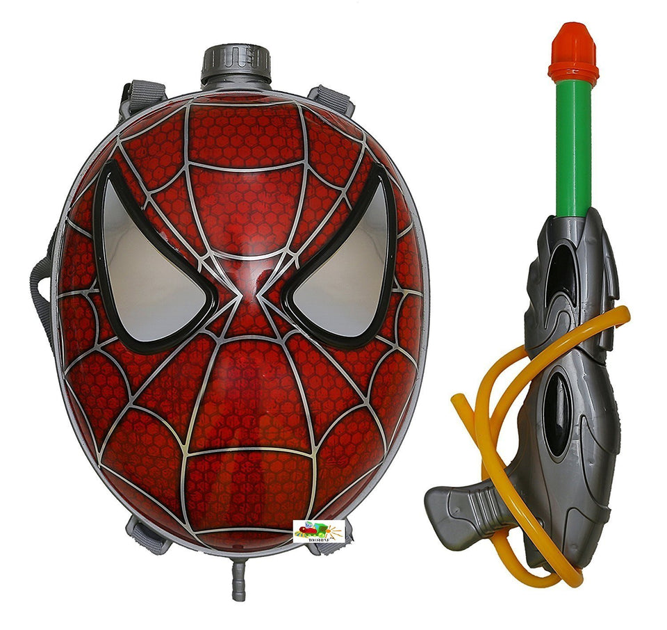Toyshine Startoys Holi Water Pichkari with High Pressure, Back Holding Tank, 3.0 L, Spiderman Face