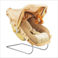 Toyshine 12-in-1 Carry Bouncer Cot with Music for Baby (Brown)