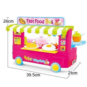 Toyshine Kitchen Set Cooking Toy with Accessories, Music and Lights - Fast Food Bus (Multicolour)