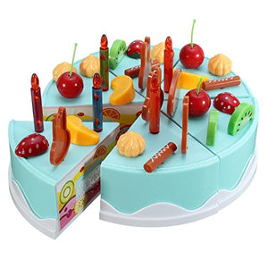 Toyshine 37 Pcs DIY Fruit Birthday Cake Pretend Play Kitchen Toy with Music and Lights