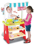 Toyshine Cake Shop Supermarket with Cash Register, Barcode Scanner, Battery Operated, Red