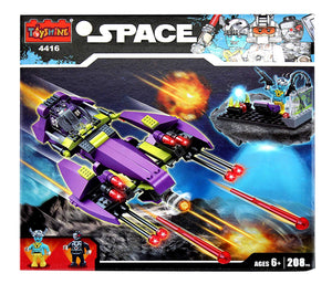 Toyshine Space Ship Blocks Set, ABS Plastic Construction Toy 208 Pieces - (4416)