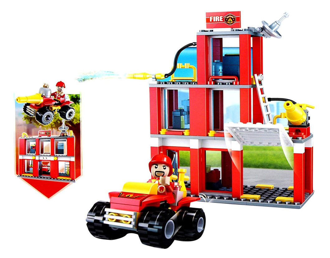 Toyshine ABS Plastic 2-in-1 Convertible Fire Fighter and Rescue Blocks Set Construction Toy (3022-3, Multicolour) - 178 Pieces