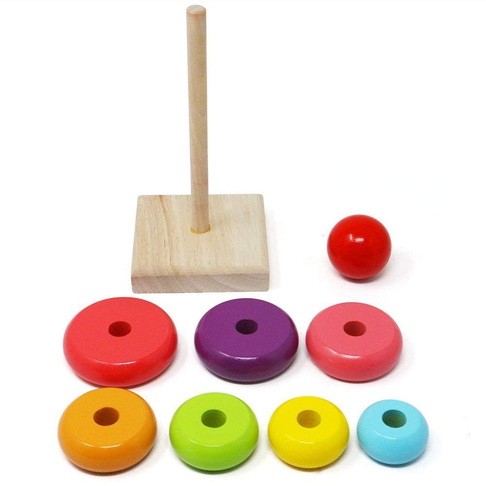 Toyshine Rainbow Stacking Rings | Wooden Educational Toys to Stimulate Brain Development & Fine Motor Skills